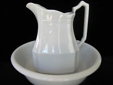 ANTIQUE c1890 J & G MEAKIN HANLEY ENGLAND WHITE IRONSTONE PITCHER & BASIN SET