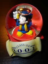 "DISNEY MICKEY MOUSE GRADUATION CLASS 2001 SNOW GLOBE FIGURINE 2"" TALL"