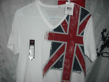 guess british flag union jack V neck t shirt size XS DEAL !