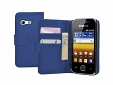 Blue Wallet Flip Case Cover Custodia per Samsung GT-S5360 Galaxy Y Young
