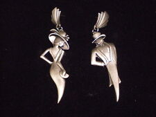 JJ PEWTER EARINGS BEAUTIFUL *** CLASSY MAN AND WOMAN  *** SIGNED JJ very cool
