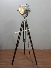 ROYAL THEATER INDUSTRIES SPOT LIGHT FLOOR LAMP CHROME SEARCH LIGHT TRIPOD STAND