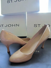 BRAND NEW ST JOHN KNIT SIZE 8 M WOMENS TAN PATENT LEATHER HEELS 3.5 INCHES