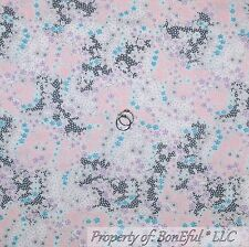 BonEful FABRIC FQ Cotton Quilt Pink Gray Purple White Blue Flower Dot Lace Girl