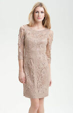 NWT $358 SUE WONG RIBBON TRIM LACE ILLUSION BODICE BEIGE DRESS sz 2