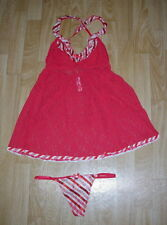 VICTORIA'S SECRET CANDY CANE TRIM ON RED LACE BABY DOLL SET SIZE MEDIUM NEW