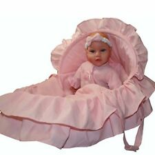 """Molly P Originals 13"""" Baby Dressed in Pink with Soft Moses Matching Carrier"""