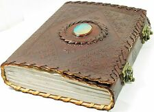 Handmade Paper 6x8 Embossed Leather Center Stone Journal with Two Brass Latches