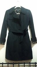 Ann Taylor Black Polyester Trench Coat with Leopard Print Lining XS