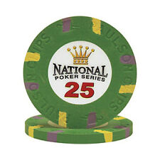 $25 Green National Poker Series Paulson Clay Chip - 25 Chips - IN STOCK NEW rare