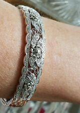 NEW 14K WHITE GOLD STERLING SILVER 1/2 .50 CARAT DIAMOND FLOWER BANGLE BRACELET