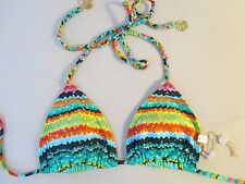 NEW LULI FAMA 'Hola Verano' Crystallized Braided Triangle Bikini Top Size S $80