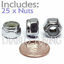 1/4-20 NE - Qty 25 - Nylon Insert Hex Lock Nut UNC - A2 Stainless Steel 18-8