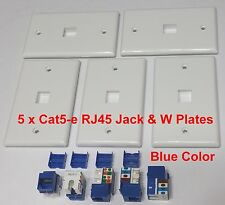 5 x Keystone Cat5e RJ45 Jack Blue Network Ethernet 110 PunchDown Wall Plate New