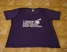 Cafe Press Women's Navy Blue I Drink Coffee For Your Protection T-Shirt Size 2X