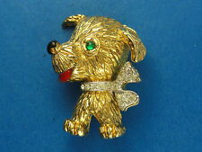 VINTAGE  SIGNED PANETTA JEWELED RHINESTONE DOG PIN BROOCH ~ 1.25""