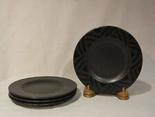 "Pfaltzgraff ""Midnight Sun"" Black Salad Plates - Set of 4"
