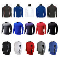 Men's Compression Base Layer Tights Top Thermal Long Sleeve T-Shirt Under Skins
