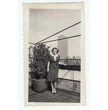 Vintage Photo 1940s Professional Woman on Roof in City Skyscraper Background