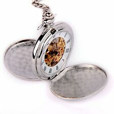 Skeleton Pocket Watch Mechanical Movement Hand Wind Roman Numerals Full Hunter S