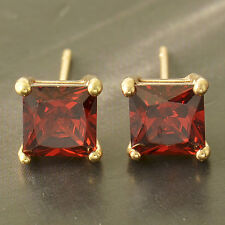 Yellow Gold Plated Womens Childrens Red crystal Crystal Square Stud Earrings