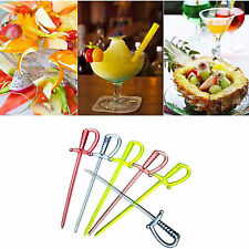 100PCS Mix Color Plastic Pirate Sword Pick Sticks Cupcake Cocktail Wedding Decor