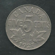 CANADA,  1927,  5 CENTS,  NICKEL, KM#29, VERY FINE+