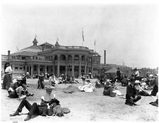 Photo. ca 1909. Long Beach, California. Bath House - Beach Crowd