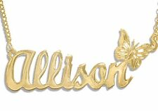 Personalize Name Necklace Butterfly 24K Gold-Plated , Any Name !