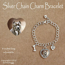 PIT BULL TERRIER DOG Brindle Crop Ears - CHARM BRACELET SILVER CHAIN & HEART