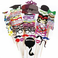 76Pcs  Wedding Birthday Party DIY Mask Mustache Photo Booth Props On A Stick