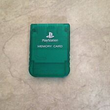 Playstation 1 Official Sony Brand memory card in Emerald Clear GREEN color one