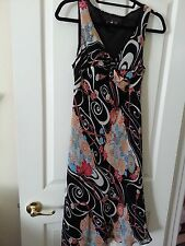 Lily Dress Floral Abstract Print V Neck Sleeveless Lined Dress Size M Pre Owned