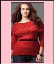 $54 NWT women TORRID flirty*sweater*top**knit*crimson*red*fringe PLUS (1X) 14-16