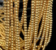 4MM GOLD HEMATITE GEMSTONE GOLD ROUND 4MM LOOSE BEADS 16""