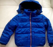 NWT TOMMY HILFIGER BOYS TODDLER PUFFER 2 DETACHABLE HOOD JACKET BLUE SIZE 7 XL