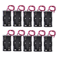 New 10Pcs Black Plastic 2x 1.5V AA Battery Holder Case Storage Box with Wire