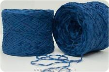 Lot 12 OZ Acrylic Poly COBALT BLUE Chenille Sport Weight 1450 YPP Yarn 2 Skeins