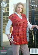 KNITTING PATTERN Ladies V-Neck Sleeveless Cable & Bobble Tabbard Chunky 4664
