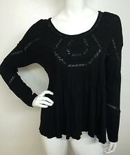 Free People New Woman Black Hope Lace Trim Pintuck Pleats Tunic Top Blouse M NWT