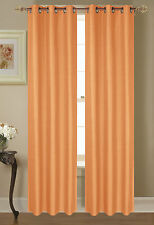 2 PANELS SOLID ORANGE THERMAL LINED BLACKOUT GROMMET WINDOW CURTAIN #64
