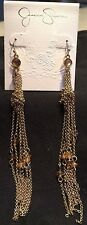 * Jessica Simpson Spring Break Metal Goldtone Dangle Chain Earrings Ear Rings