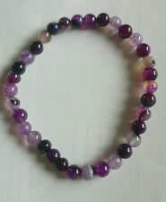 UK NEW UNIQUE NATURAL 6MM PURPLE AGATE STRETCH BRACELET APPROXIMATELY 7 1/2""