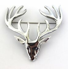 Large Polished Pewter Scottish Stag Head Plaid Sash Brooch - Made in Scotland