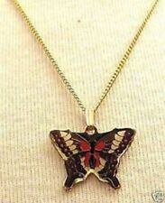 Collier Pendentif chaine bijou vintage couleur or papillon émail cloisonné R