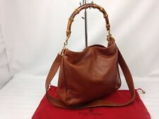 Auth GUCCI Bamboo Handle 2 way Shoulder Hand bag Leather Brown 7D050240m