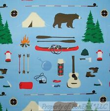 BonEful Fabric Cotton Quilt Blue Brown Bear Cabin Camp Tent Boy Scout Fish SCRAP