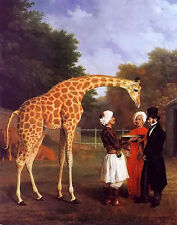 Oil painting jacques laurent agasse - the nubian giraffe with men in landscape