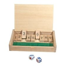 "New Mini Wooden Shut the Box Game - 5-1/2"" x 3-1/2""  Game Board and 2 Dice"