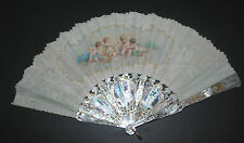 SUPERB ANTIQUE FRENCH HAND CARVED MOTHER OF PEARL PAINTED SILK PUTTI CHERUBS FAN